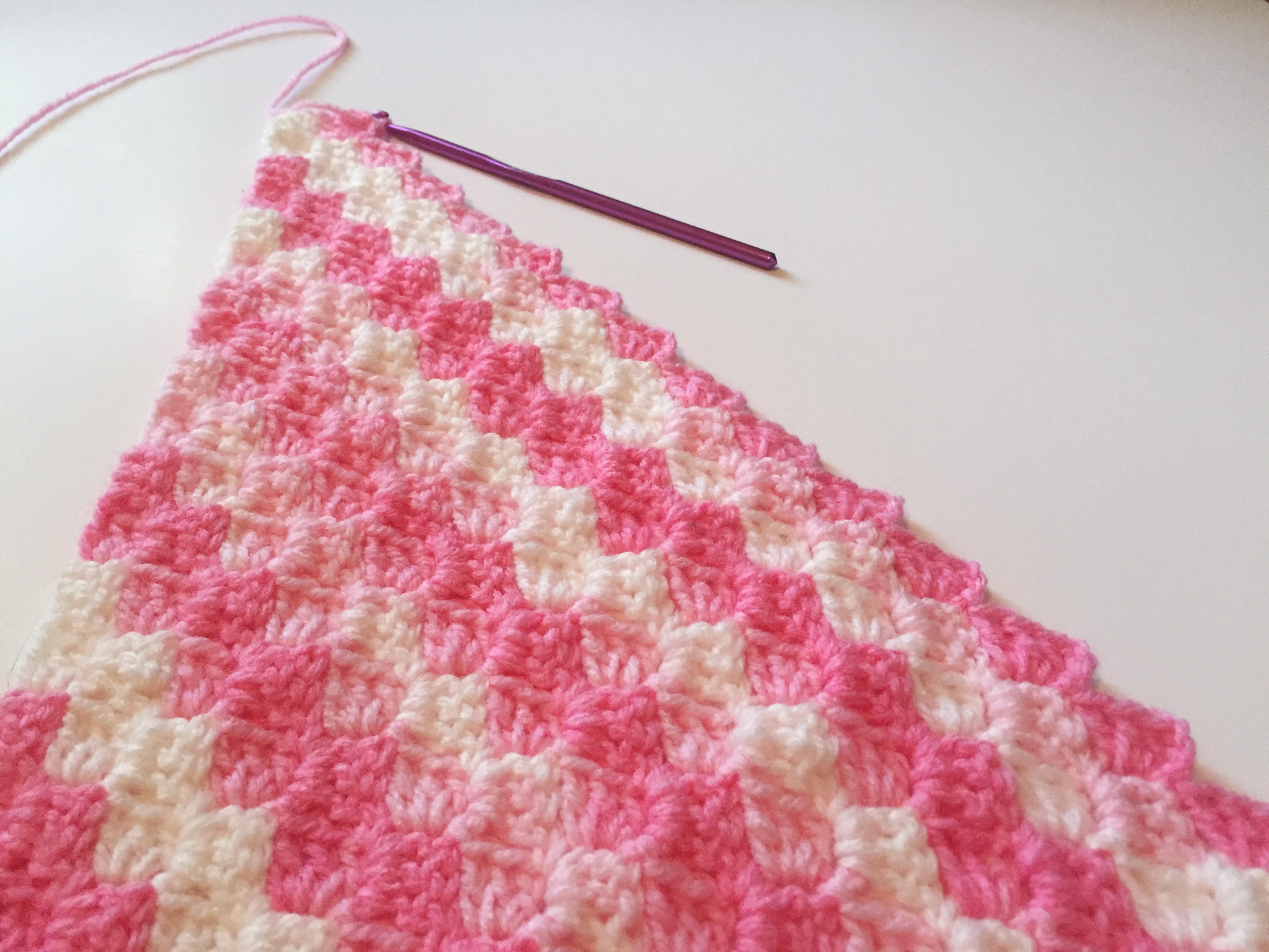 crochet pink corner to corner baby blanket