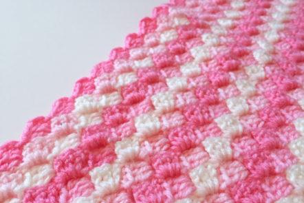 pink corner to corner crochet blanket