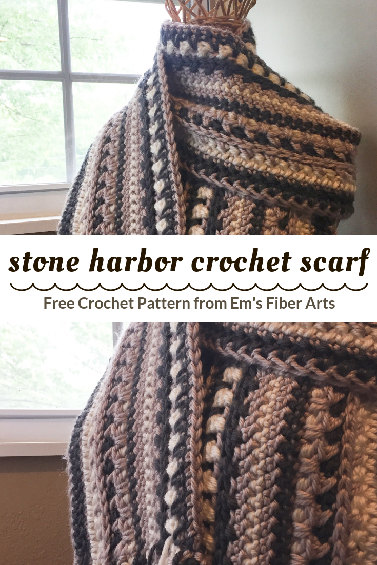 Free Crochet Scarf Pattern: Stone Harbor Scarf | Em's Fiber Arts